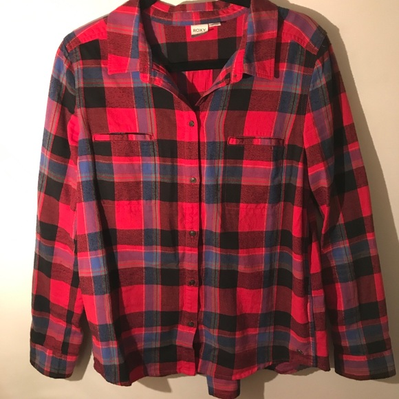 ad245b9f2121 Roxy Tops | Red Plaid Flannel Shirt Size L | Poshmark